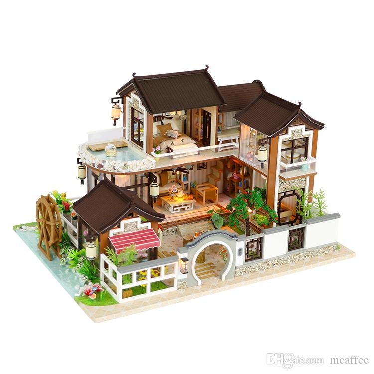 Diy Wooden Sand Table Model Doll House Assembly Toy Creative Toy Wooden Sand Table Model Doll House Cute Baby Light Easy To Repair Dolls & Stuffed Toys