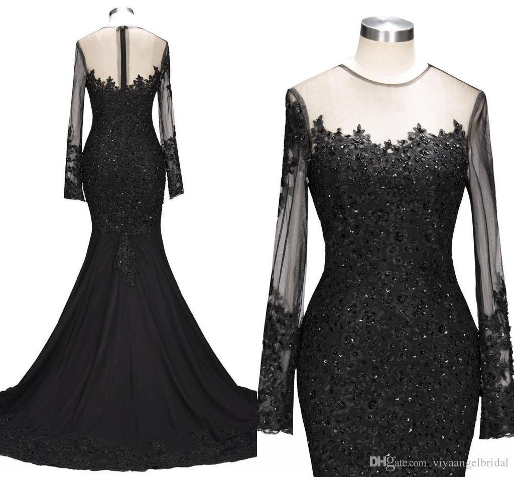 Real Photos Evening Dresses 2019 Sheer Jewel Neck Lace Applique Beaded Black Mermaid Long Sleeve Zipper Back Arabic Mothers Party Prom Gowns