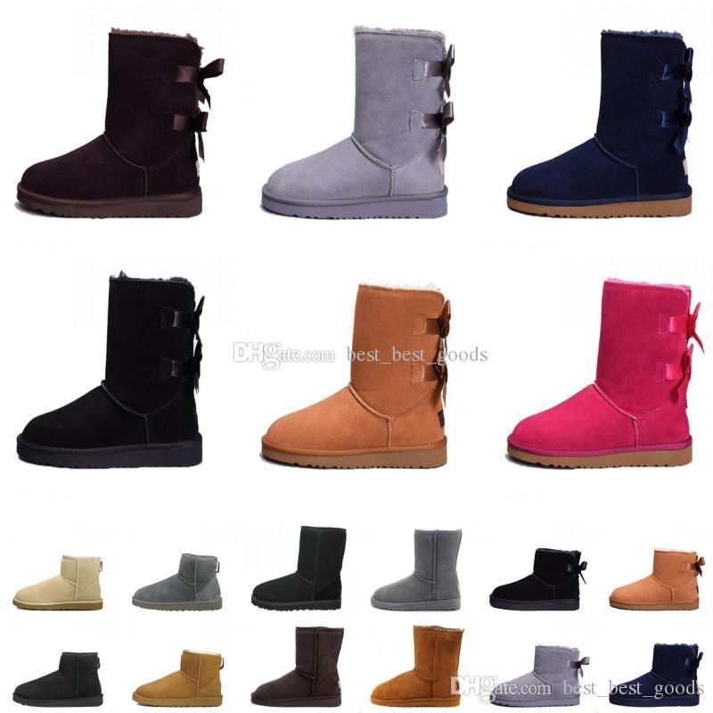 meilleur site web 65934 8ab34 Bottes marron cheville femme botte de neige pour hommes en cuir mouton  australie classique chaud hiver chaussures designer de luxe Bailey boot ...