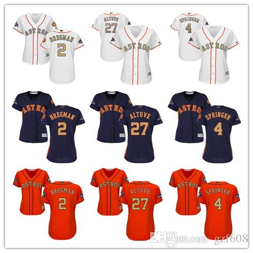 low priced 58ea3 067ba Women s Majestic Houston Astros Jersey #2 Alex Bregman 4 George Springer 27  Jose Altuve White 2018 Gold Program Ladies Baseball Jerseys