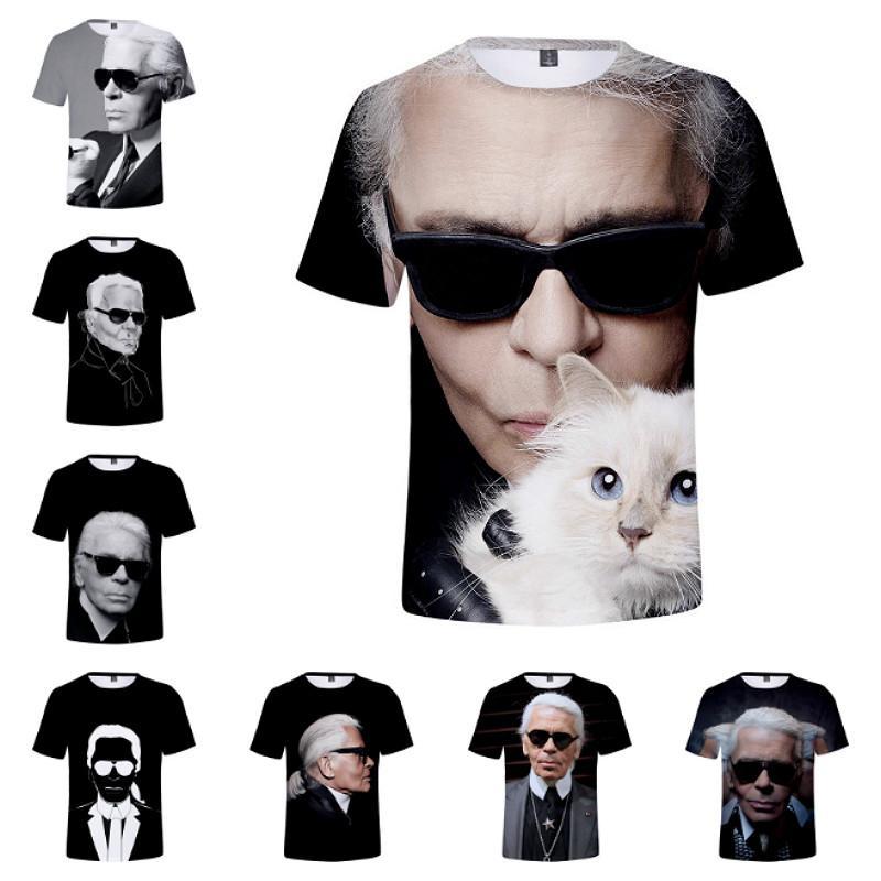 more photos d0dd9 3392e XXS-4XL Karl Lagerfield Herren T-shirt Harajuku Summer Shirts Famous Man  Printed Short Sleeve Cool Tshirt