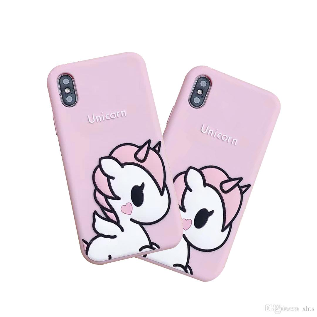 quality design a72dd 105db Phone Case Pink Girl For iPhone 6 7 8 plus Unicorn Phone Case iPhone X Soft  Girl Phone Case