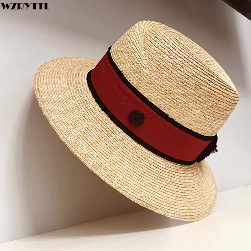 a2cf85331b2e9 Women Summer Straw Hat Wide Brim Fedora Sun Beach Hat Natural Black Red  Band Panama UPF50+ Travel Cap Knit Hats Bailey Hats From Strips