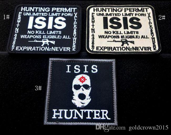 VP-48 3D Hunting Permit ISIS Embroidered military Patches Tactical Patches Combat Badge Fabric National Flags Armband Badges