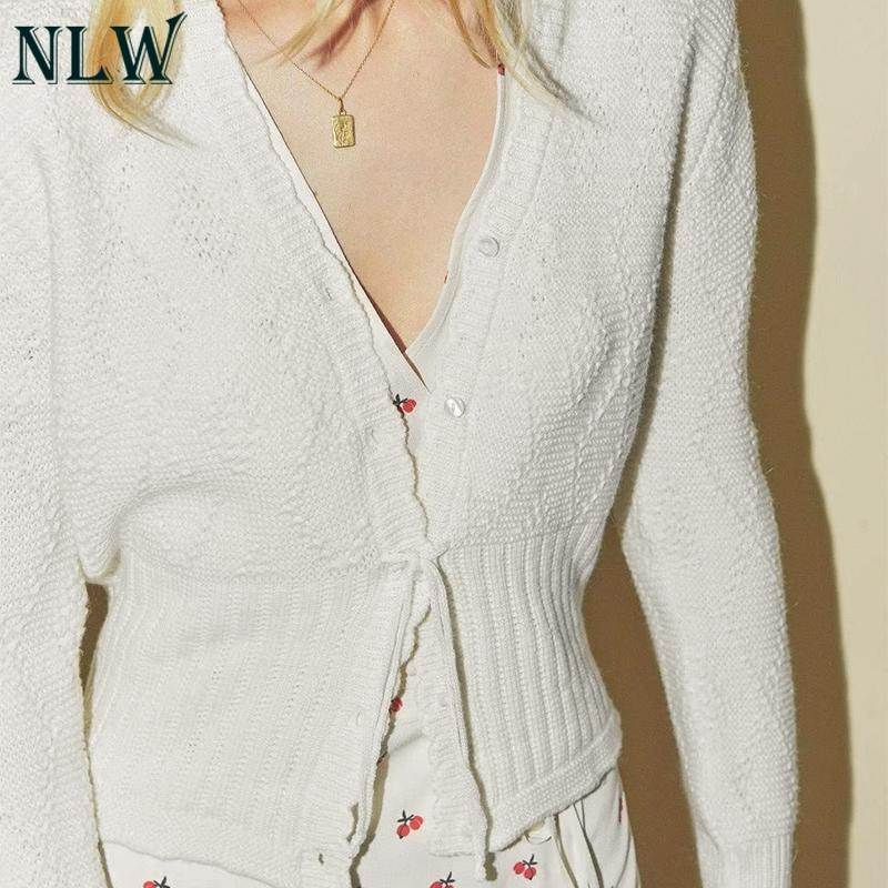 2019 NLW Vintage Casual Solid White Sweater Women Winter Knitted Lace Up  Sweaters Jumper Retro Feminino Thin Basic Cardigans From Amandal e27c8efd2