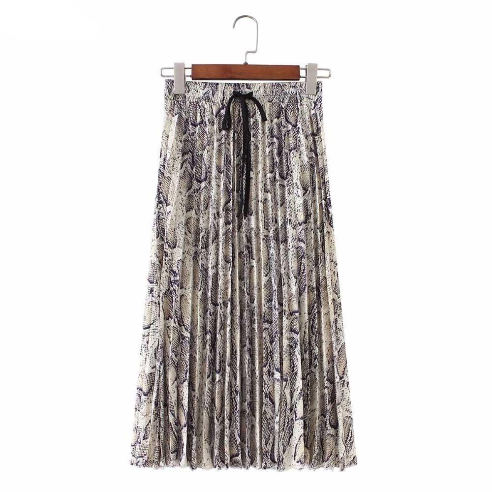 1a5d83856 Falda Mujer Falda Plisada Estampado de Serpiente Estampado Falda Mujer Lazo  Elástico de la cintura de Las Señoras Ocasional Media Pierna Faldas ...