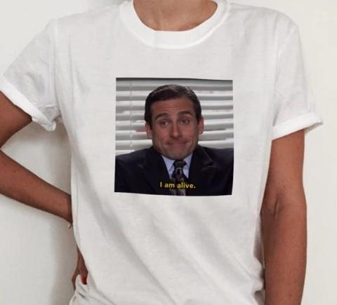 7c8992eb Hahayule JF The Office TV Show Michael Scott I Am Alive Quotes Funny T Shirt  Summer Short Sleeve Grunge Fashion White Tee White Shirts Funny T Shirts  For ...