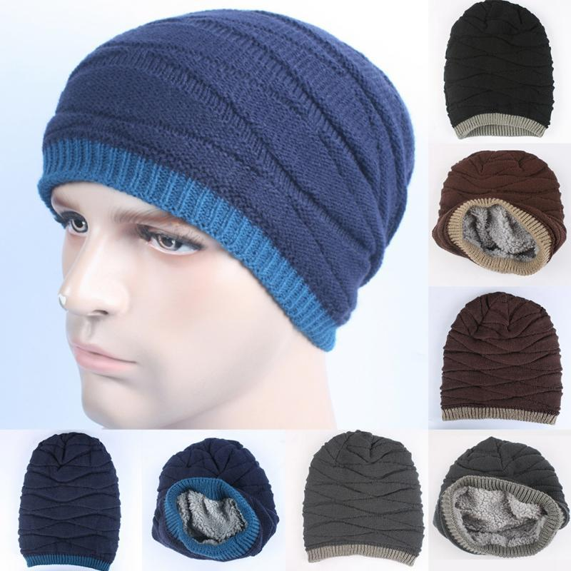 30a34e2f1d3 Fashionable Men Reversible Knitted Hat Thick Beanie Cotton Soft Winter Warm  Hat UK 2019 From Longanguo