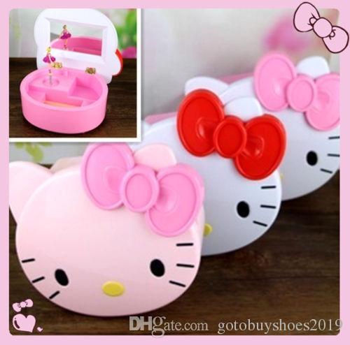 595205508 New Hello Kitty Music Box Mirror / Make Up Jewelry Box Yey E1029 3 ...