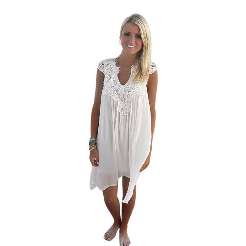66e4c7d20 playa Costura flojo Blanco Fiesta damas bohemio Vestidos gasa Estilo Verano  de sin Hook Mujer Todo mujer de Vestido ...