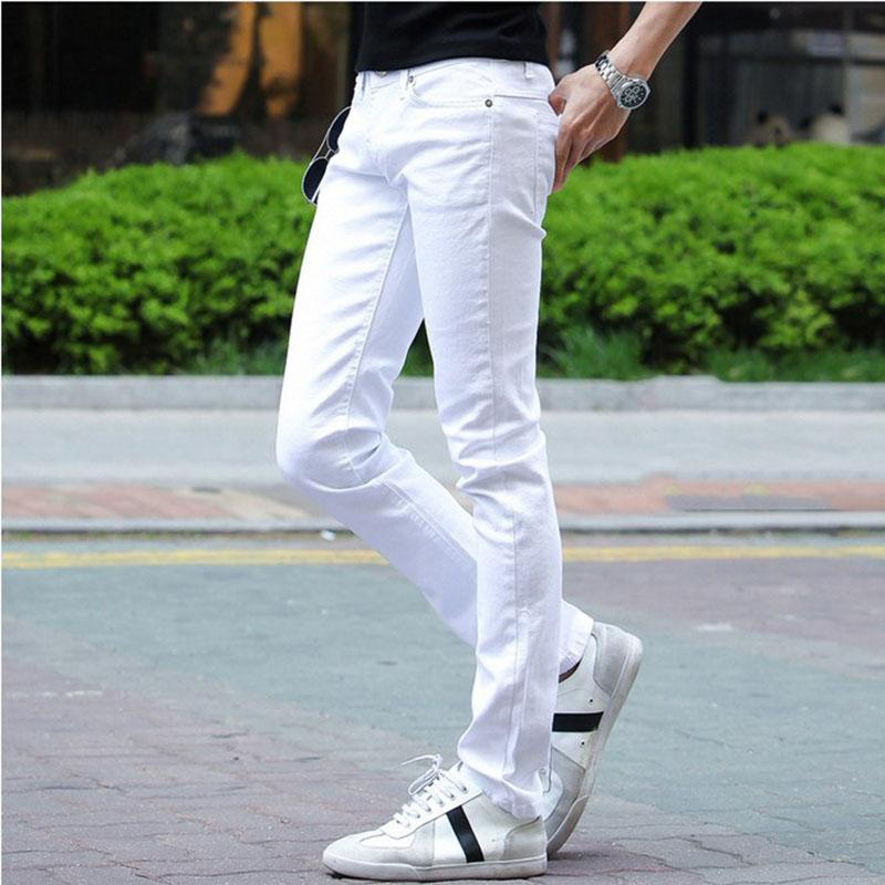 2019 Young Men Jeans Male Fashion Designer Brand Black White Red Jeans New Cotton Pants Slim Skinny Long Trousers Stretch