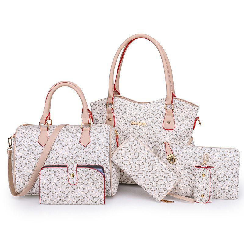 59369c6e111 2019 Fashion 6pcs/lot fashion trends women handbags shoulder bags set  female pu leather composite bag romantic time practical women's bag
