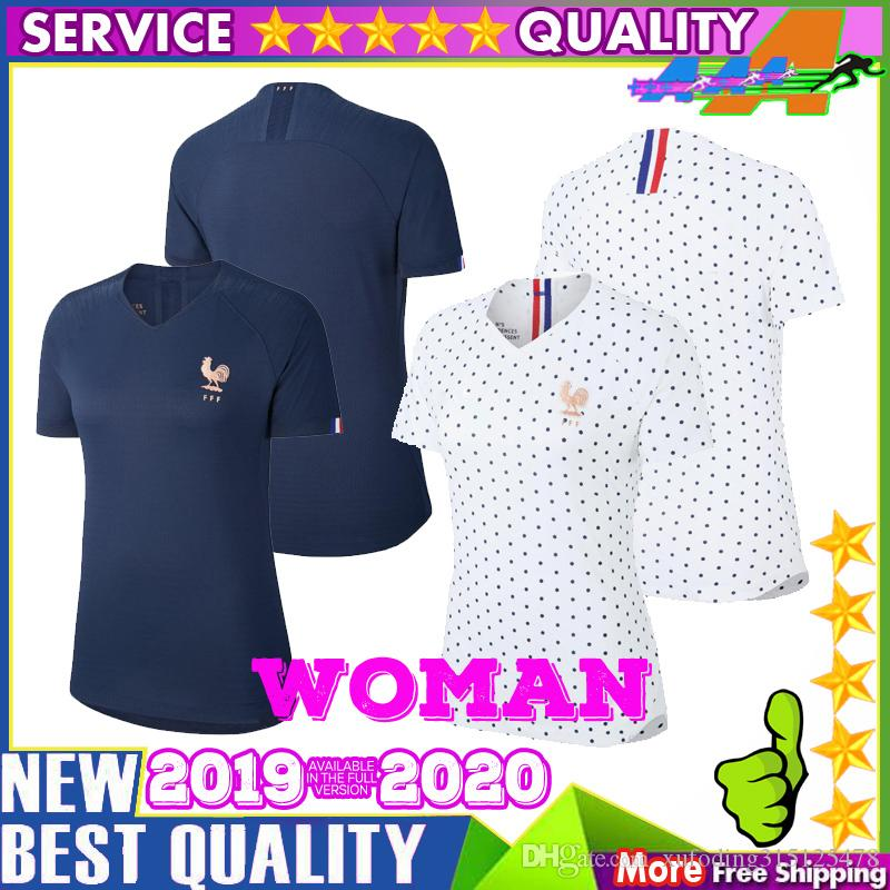 quality design 2846e f0313 19 20 French women Soccer Jersey 2019 world cup Frances GRIEZMANN MBAPPE  away female shirt POGBA KANTE girl Football Francia