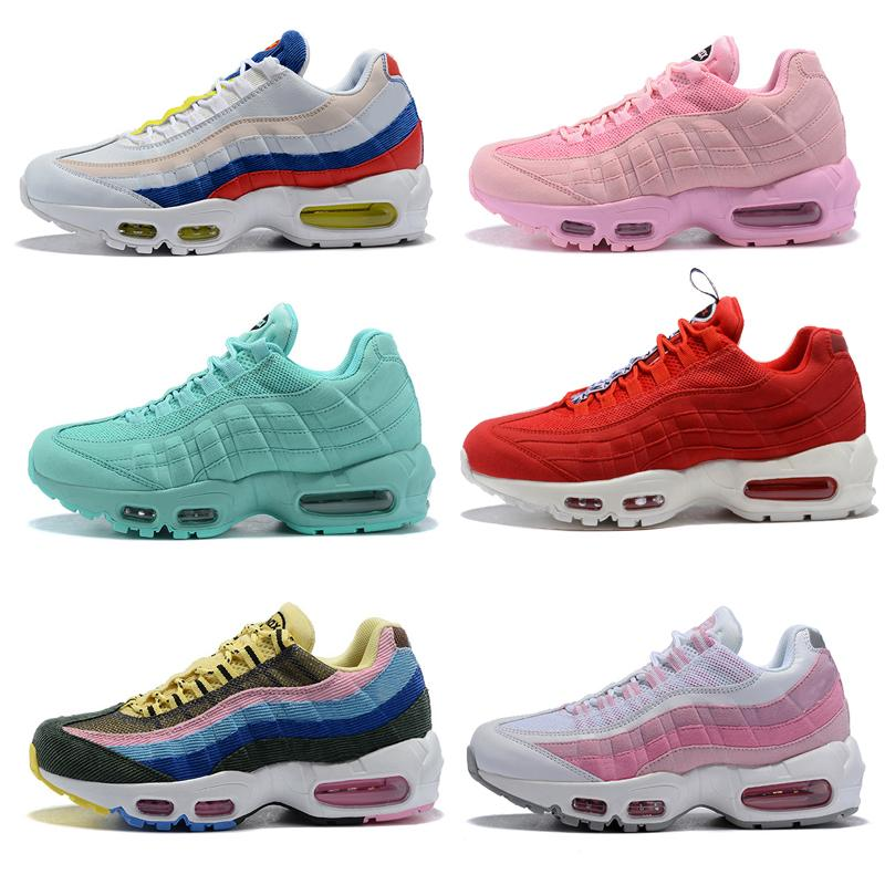 2019 New 95s Womens Retro Outdoor Shoes Sneakers Girls Designer Airlis  Chaussures 95 Og White Red Pink Blue Green Grey Cheap From Rosejersey e3d300249