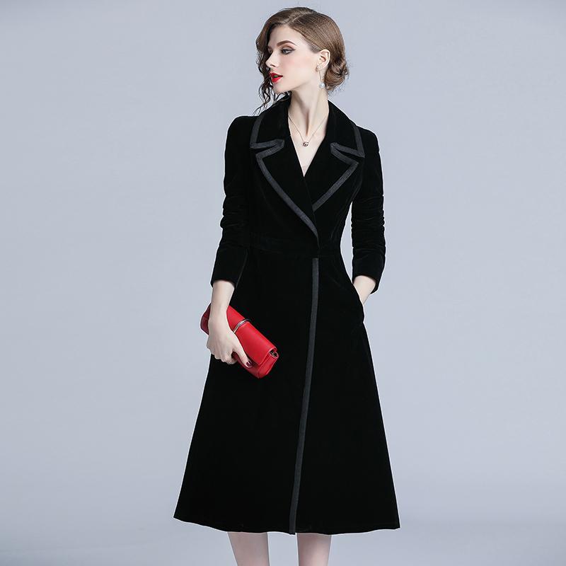 9254b6451 Compre 2019 Outono Trench Coat Mulheres Abrigo Mujer Longo Elegante Outwear  Trespassado Casaco Feminino Sobretudo Fino Preto De Veludo Trincheira De  Sikaku, ...