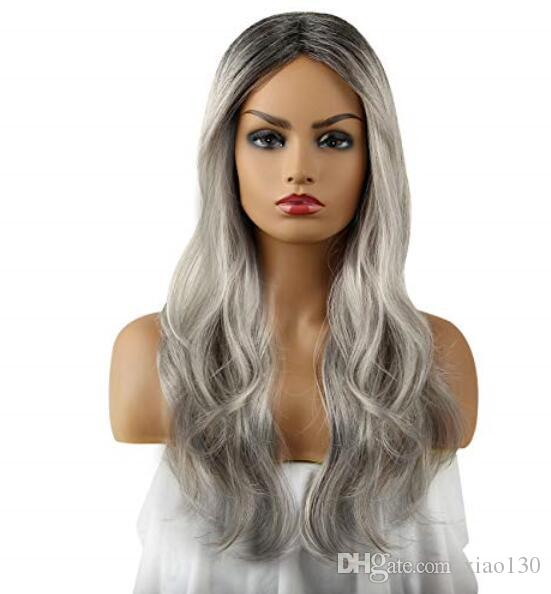 Ombre Grey 2Tones Synthetic Wig Free Parting by LIANPENG,Daily Cosplay Party Wig