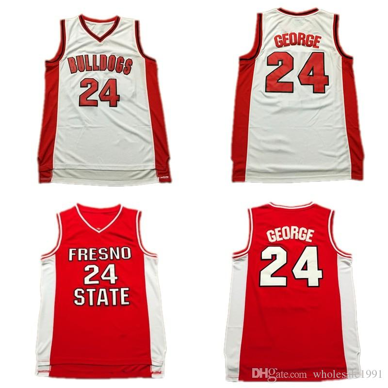 watch ab295 87109 24 Paul George Fresno State Bulldogs Jersey Mens Paul George Red White  College Basketball Jersey Stitched University Shirt