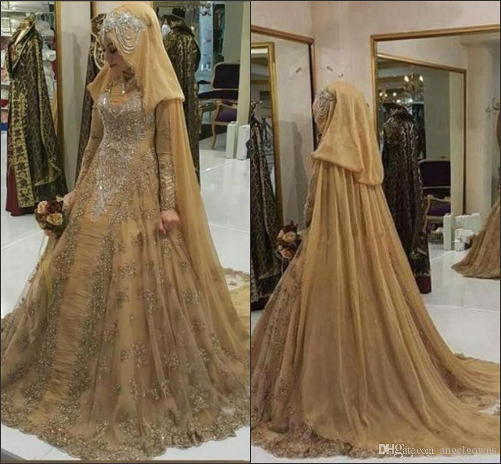 Modest Saudi Arabia Muslim Gold Champagne Hijab Ball Gown Wedding Dresses Long Sleeves 2019 Lace Pleats Major Beads Traditional Bridal Gowns