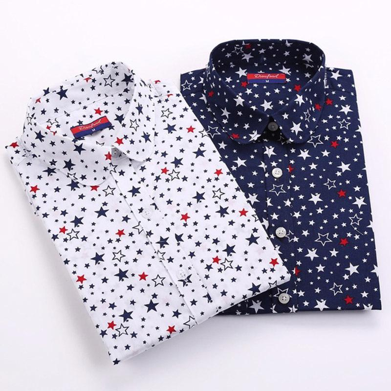 Hülse lange Bluse Frauen Cherry Star Print Baumwollhemd Frauen Vintage Plus Size Dot Shirts Frauen 5xl gestreiften Tops Lady