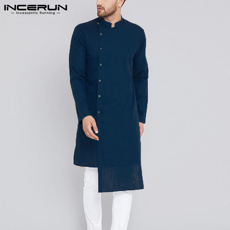 05516080e6 Compre INCERUN Camisa Casual Para Hombre Traje Indio De Kurta Hombres Manga  Larga 100% Algodón Sólido Irregular Camisa Hombres Islámicos Musulmanes  Ropa S ...
