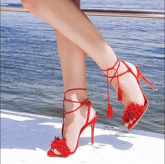 Flecos Pom De Tiras Con Sandalias Toe Recorte Atractivos Zapatos Peep Mujeres Decoración Cordones Rojos Gladiador Verano oreCxdBW