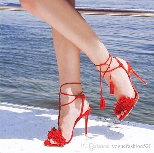 83f5473aed3949 Acquista Sexy Sandali Con Frange Rosse A Punta Aperta Sandali A Punta  Aperta Con Lacci Da Donna Sandali Gladiatore Donna Pom Pom Decor Abiti  Estivi Scarpe ...
