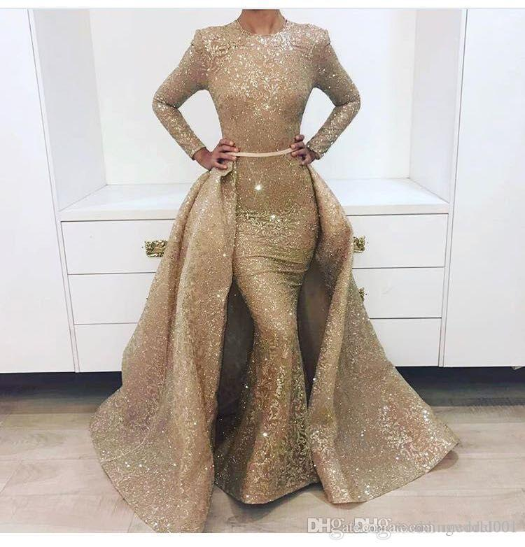 New Stunning long sleeve gold prom dresses Detachable skirt with bustle 2 pieces evening gown Australia Design