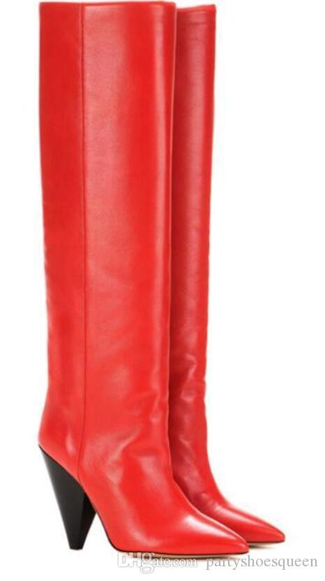 697753f2016 2018 New Arrival Women Winter Gladiator Boots Mid Calf Booties Women Solid  Color Pointy Toe Leather Bota Spike Heel Boots Women Wide Calf Boots Ariat  Boots ...
