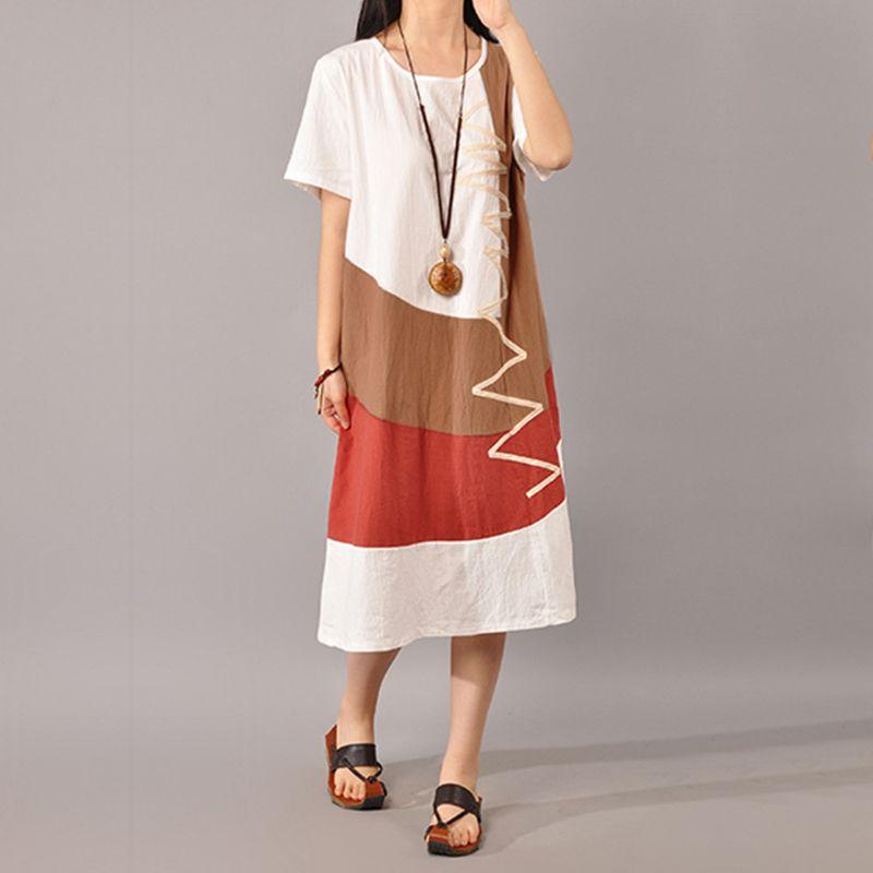 631b4075db 2019 Zanzea Women Dress 2018 Summer Sexy O Neck Short Sleeve Vintage Splice  Casual Loose Dresses Fashion Vestidos Plus Size S 5xl Y19012201 From Tao02