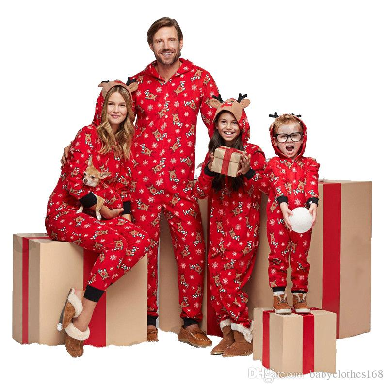Compre Familia Pijamas De Navidad Una Pieza Adultos Ninos Ninas