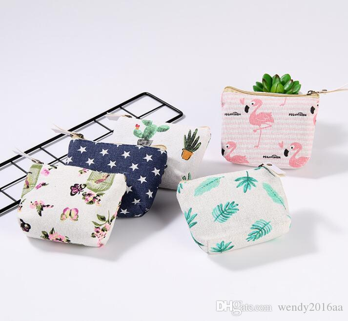 200pcs Bird Leaf Printed Vintage Zipper Pencil Case Cute Portable Min Key Coin Purse Makeup Bag