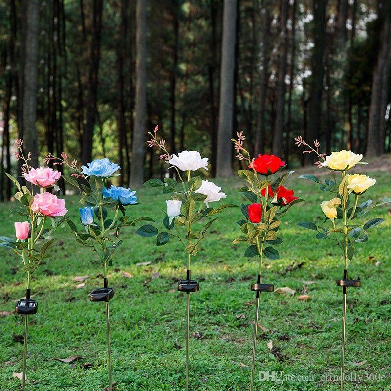 Acheter Rose Fleur Solaire LED Lumière Jardin Jardin Pelouse Nuit ...
