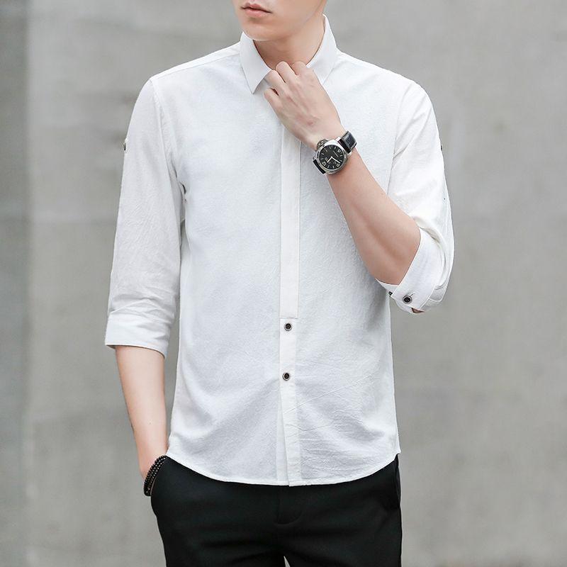 Compre Moda 2018 Camisa De Verano Para Hombres 100% Algodón 3 4 Manga Slim  Fit Para Hombre Camisas De Vestir De Negocios Ropa Formal Sólido Social  Camisa ... a1a9cbeed8a74