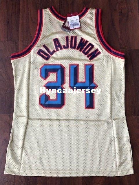 new arrival c5f2e 9294c Retro Sewn Hakeem Olajuwon #34 Gold Retro Shirt Size XS-6XL Jersey 1996-97  MITCHELL AND NESS basketball Jerseys Ncaa