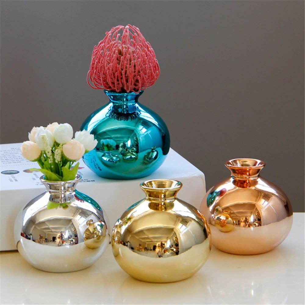 European Electroplating Ceramic Vase Golden Rose Gold And Blue Gold Flower Arrangement Containers Home Decoration Ornaments