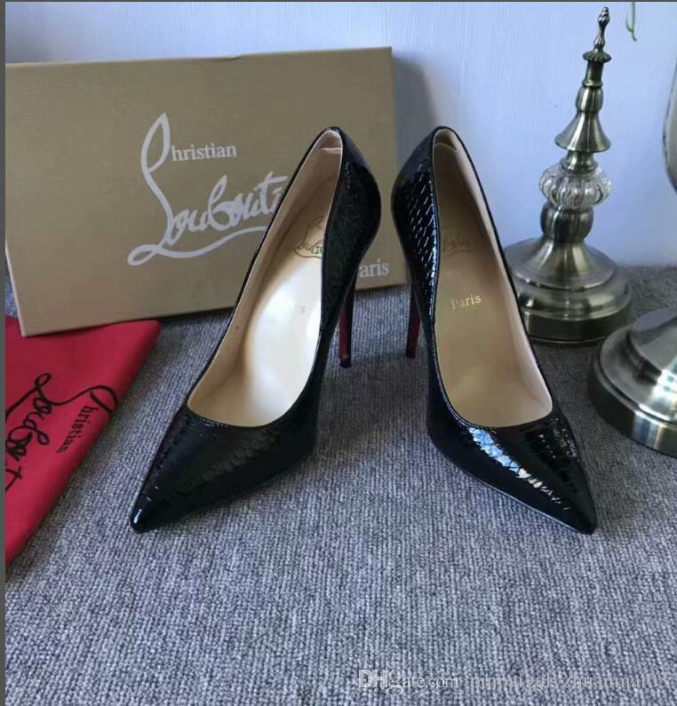 Christian Louboutin CL Fashion luxury designer women shoes red bottom high  heels red Leather Pointed Toes Pumps Dress shoes q1