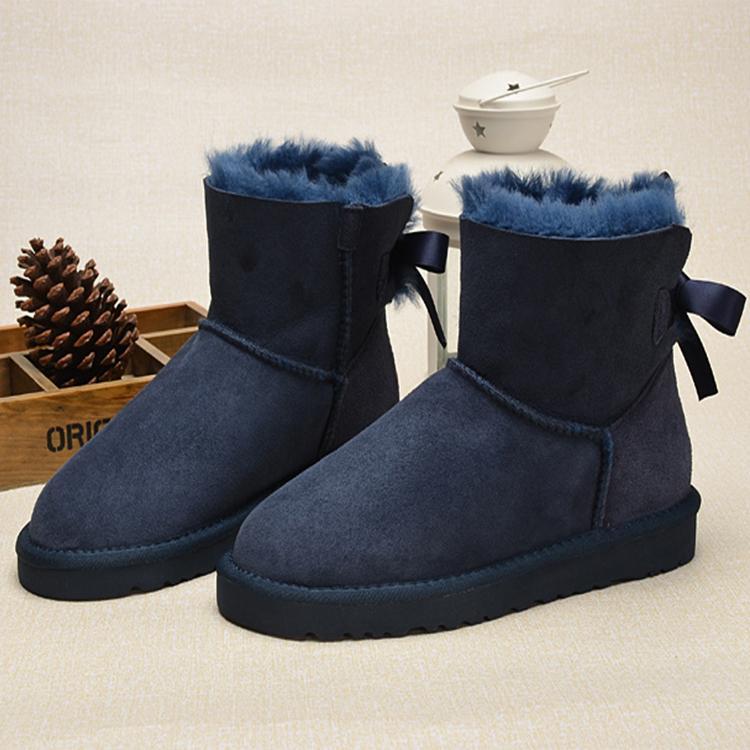 693dcbb0b99b Acheter CHAUD Chaussures De Designer Australien Style Neige Femmes Bottes  ABCD ONE Bow Back Hiver En Cuir Cheville ABCD Bottes Bowtie Brand Luxe Femme  ...