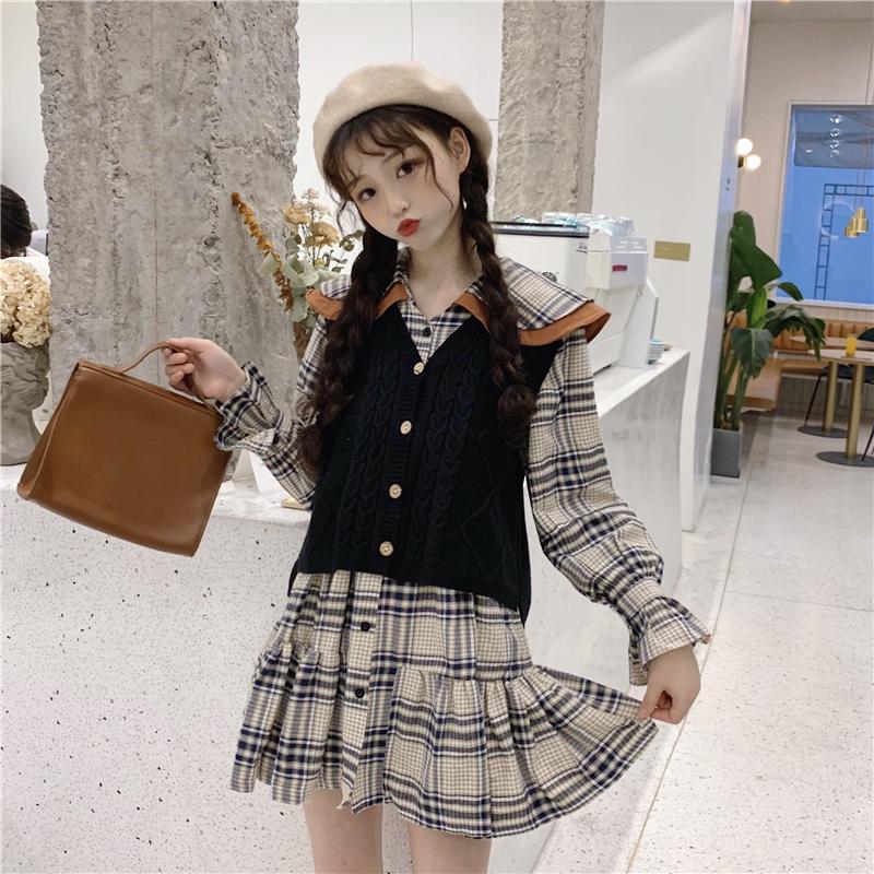 df35df433e2 New Women s Spring Korean Fashion Clothing Lap Top Students Plaid Dress +  Short Vest Sweater Casual Fashion Sweet Two Piece Set