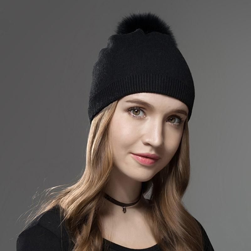 Joy Alice Winter Women Real Fur Pom Pom Hats Wool Knitted Thick Warm Lined  Beanies Hat Lady Fashion Bobble Ski Caps Bonnet Femme Baby Hat Crochet Baby  Hats ... e588130092c