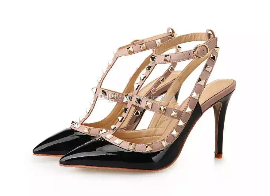 5overseas2019 Designer Pointed Toe 2-Strap With Studs Heels Leather Rivets Sandals Lady Studded Strappy Dress Valentine Heel Shoes