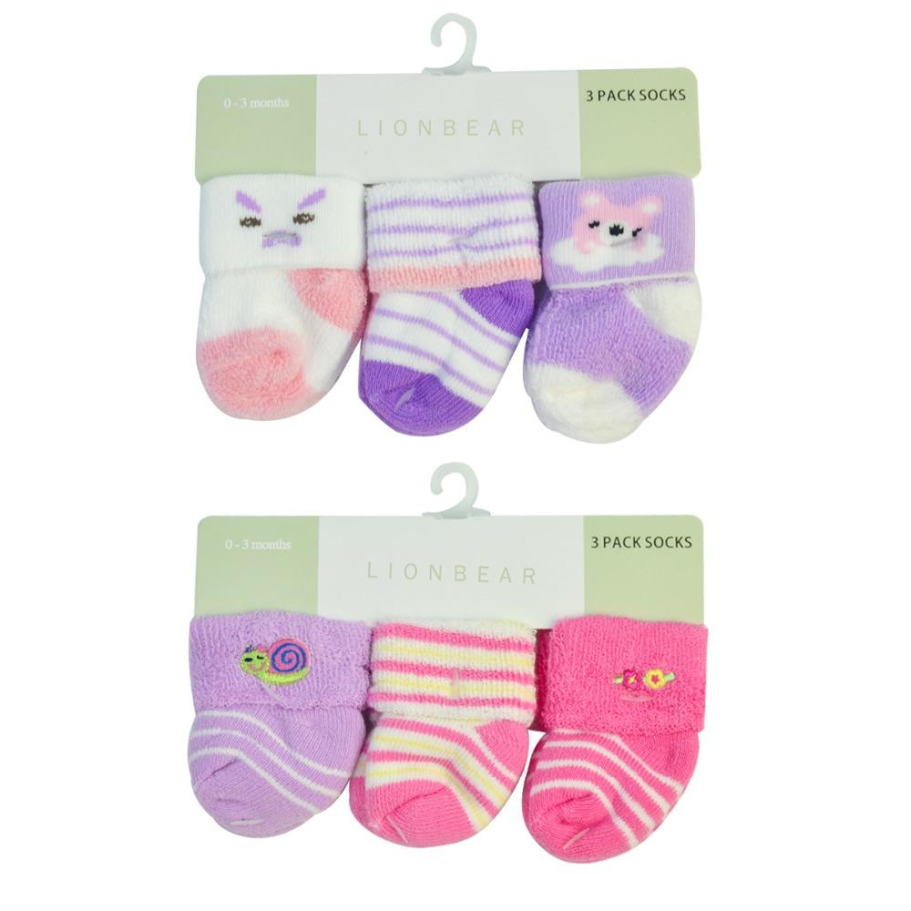 f3e4e5c1e Newborn Terry Socks Baby Girl Boy Cotton 0 3 Month Warm Elastic ...