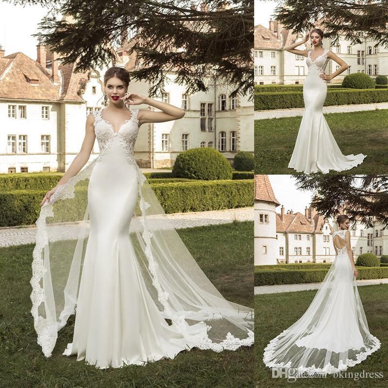 8e0ea0716b193 Sweetheart Detachable Train Wedding Gowns 2019 Cap Sleeve Lace Mermaid Wedding  Dresses Cheap Beach Backless Bridal Dresses Vestidos De Novia Wedding  Dresses ...