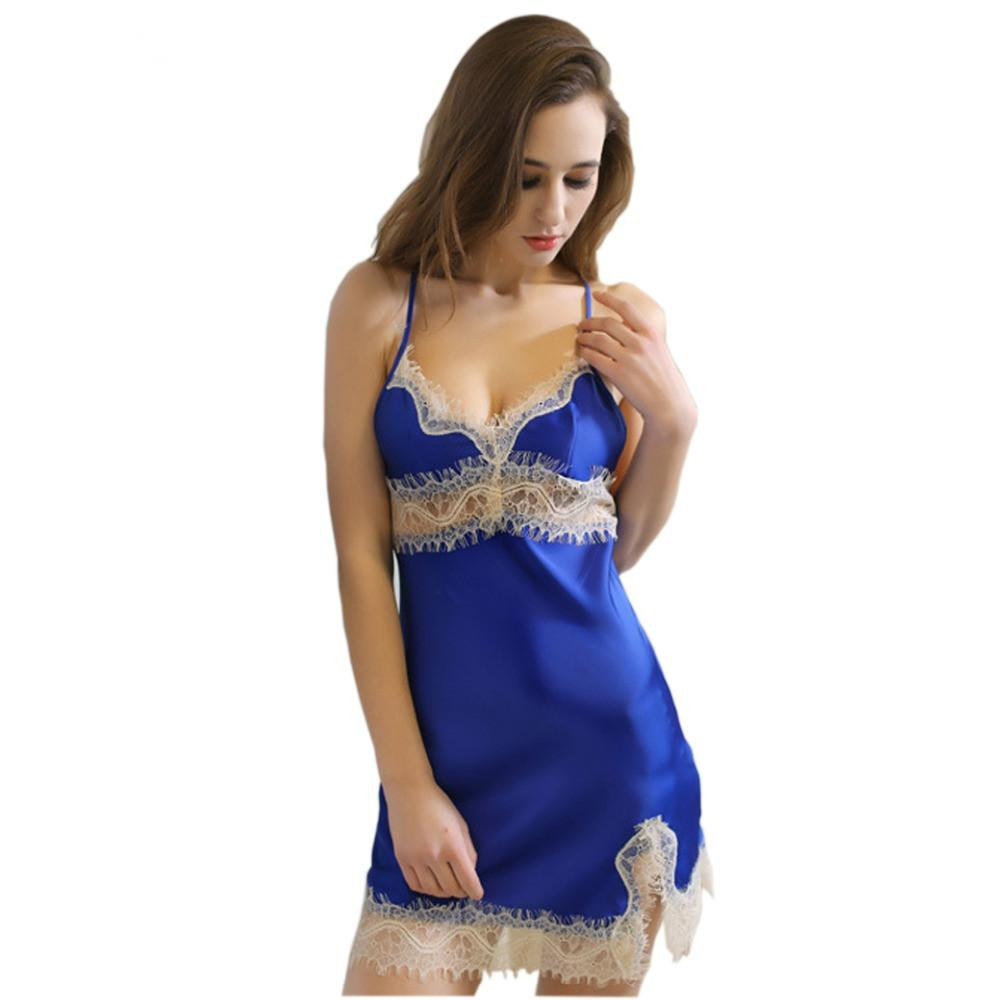 0e962c68d 2019 Women Sexy Nightgown Silk Sleepwear Lace Lingerie Babydoll Nightdress  Strappy Night Skirts Female Satin Nightie Home Clothes From Nakewei