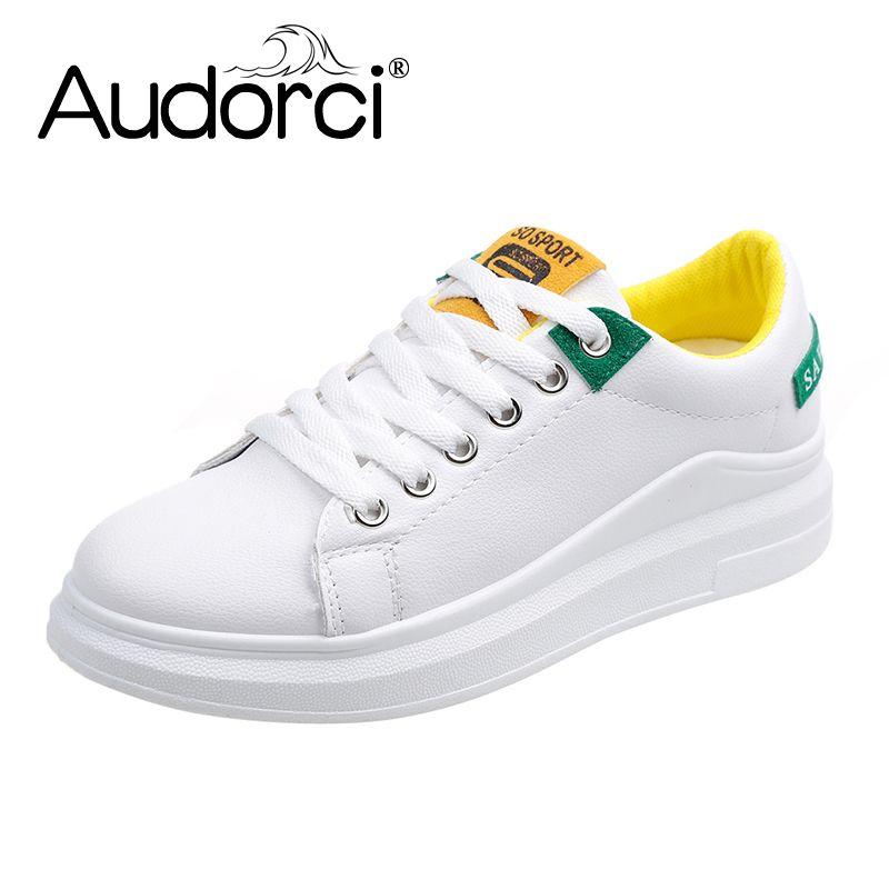 ba6763e275d Audorci 2019 Spring 3 Colors Fashion Women Casual Shoes Woman Lace-Up Flats  Shoes Female Outdoor Comfortable Sneakers Size 35-40
