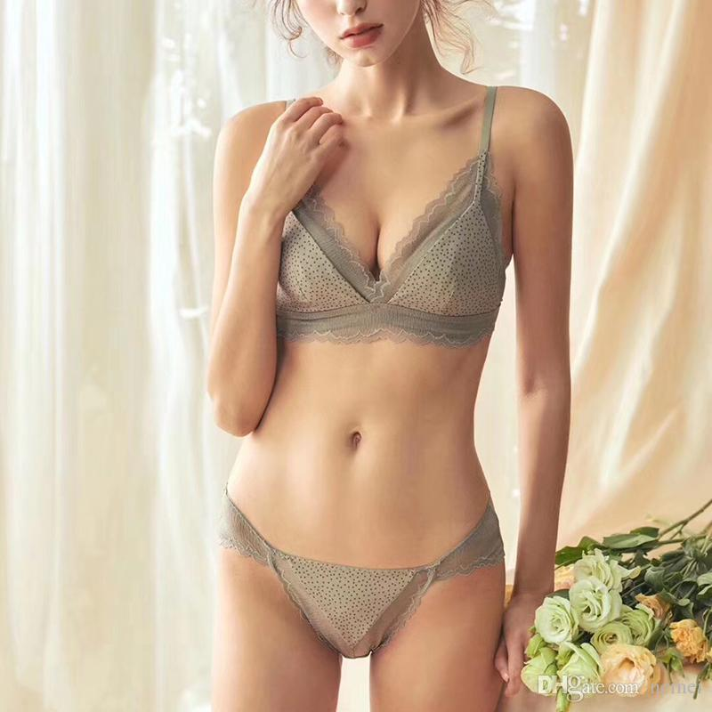341af6561ec French romantic retro style lace underwear sets wire free women sexy  sleepwear comfortable thin cup girls bra and panty set