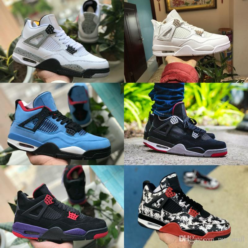 2e6d15b2d58a 2019 2019 New 4s Tattoo Black White Cement Graffiti Cactus Jack Raptors  Mens Basketball Shoes 4 Kaws Travis Scotts Royalty Bred Retro Sneakers From  My mall