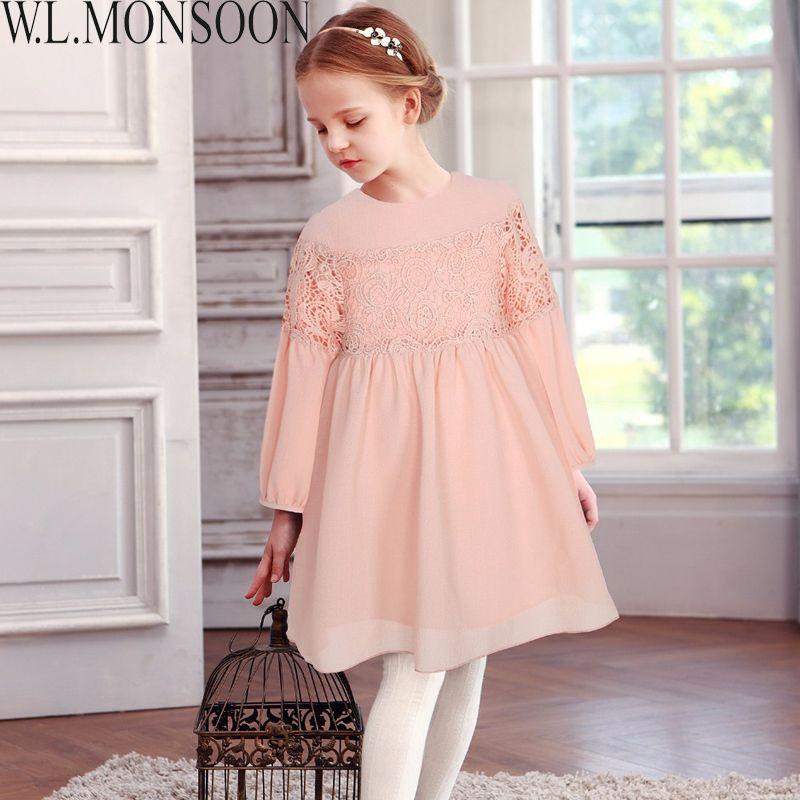 bfb7af7096e06 W.L.MONSOON Girls Lace Dress Long Sleeve 2019 Brand Autumn Kids Dresses for  Girls Clothing Children Dress Princess Robe Fille