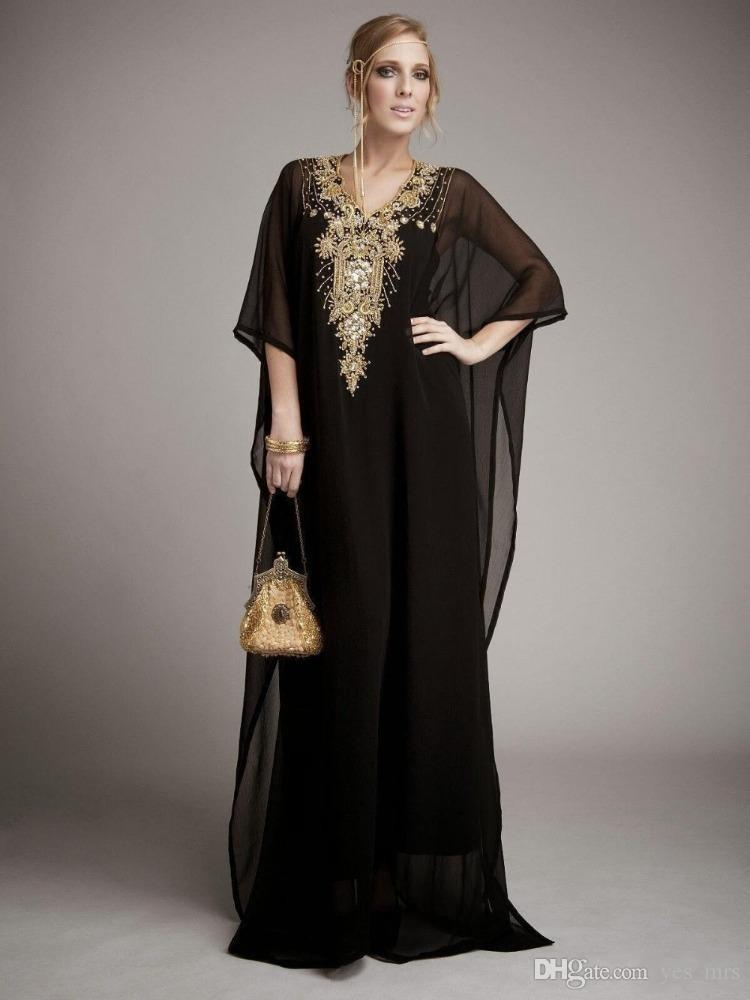 Cheap Long Arabic Islamic Clothing for Women Abaya in Dubai Kaftan Muslim Arabic Evening Dresses V Neck Chiffon Beads Party Prom Gowns