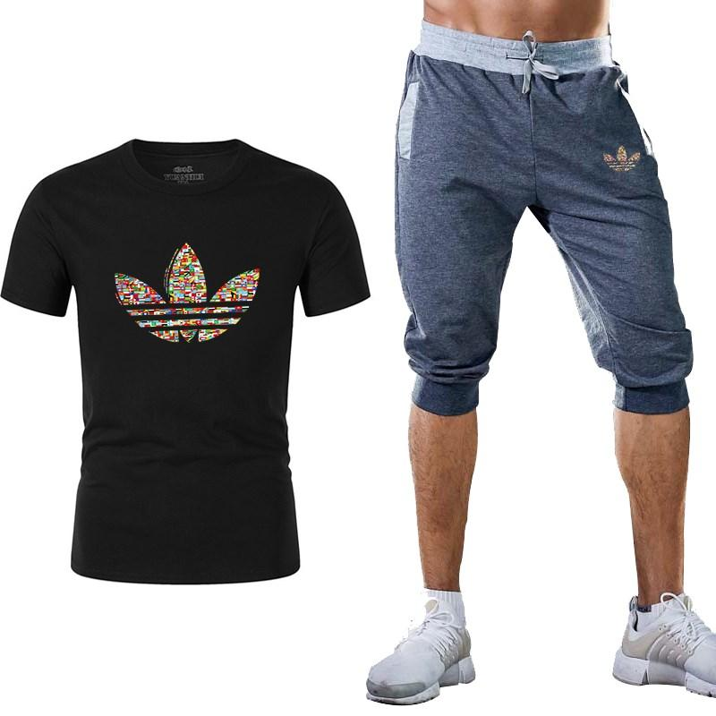 b9bd583d free shipping Summer Hot Sale Men's Sets T Shirts+shorts Two Pieces Sets  Casual Tracksuit Male Tshirt Gyms Fitness shorts men