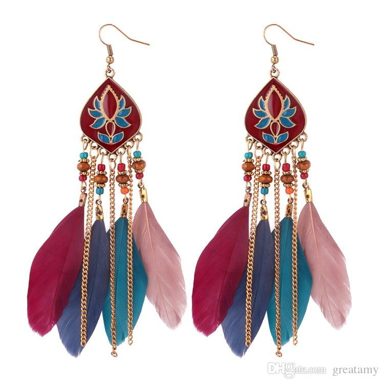 feathers fringed earrings Bohemian retro Earrings 4 colors girls fashion accessories jewelry long design drop earring